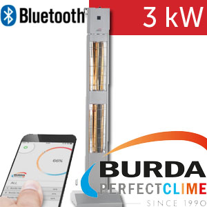 Infrazářič - Burda SMART TOWER BLUETOOTH IP24, stříbrný